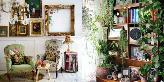 salones modernos, ejemplos de decoración en estilo bohemio, mucha decoración de plantas verdes, muebles tapizados con tela en motivos florales