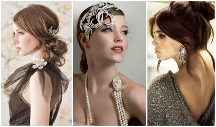 peinados de fiesta, tres ideas elegantes de pelo recogido con accesorios en color plateado, inspiración en los años 20