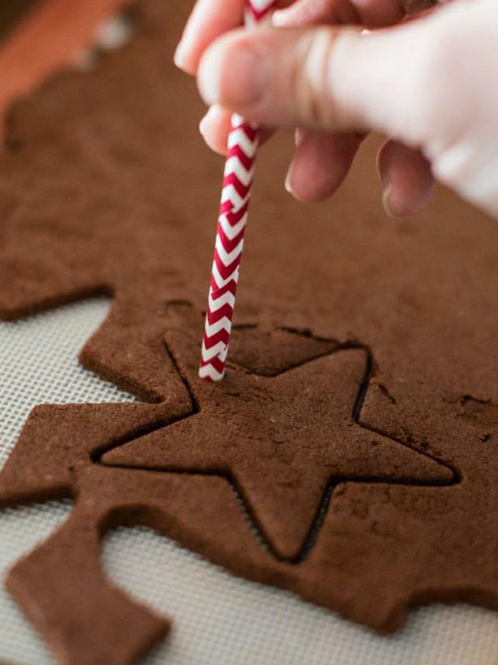 galletas de mantequilla receta, ideas DIY navidad, estrella de mesa de galletas, ornamento para el árbol de navidad