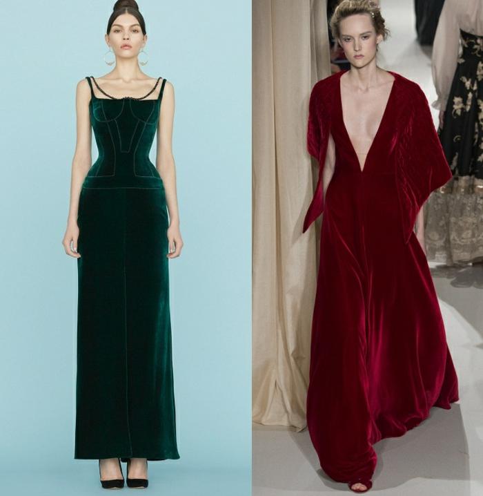 vestidos nochevieja, propuestas largas de terciopelo, ideas refinadas modernas 2018, escote muy atrevido, colores verde y rojo