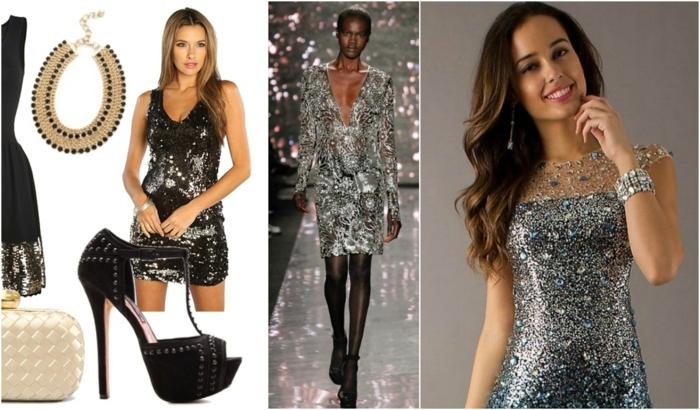 vestidos de coctel, propuestas con mucho brillo, tendencias 2018, vestidos de color plata, detalles en negro