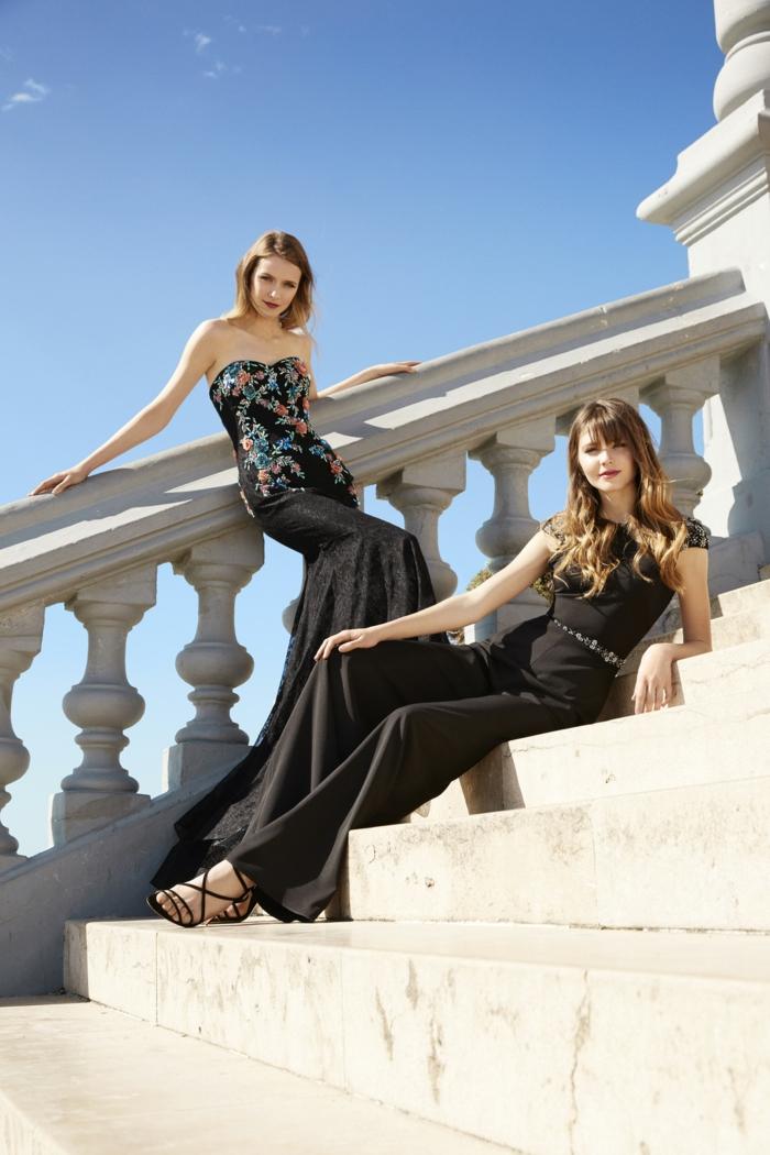 vestidos de fiesta largos, dos propuesta largas en negro con estampados de pequeños flores, monos en negro con cinturón plateado