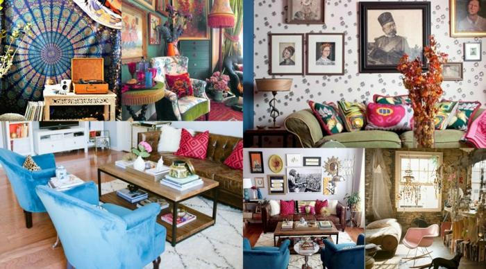muebles de salon, ideas coloridas de interiores en estilo boho chic, salones con mucha decoración en las paredes, cojines decorativos
