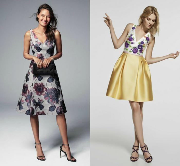 vestidos largos de fiesta, dos propuestas de vestidos para bodas con motivos florales, vestidos midi con flores en lila, sandalias elegantes