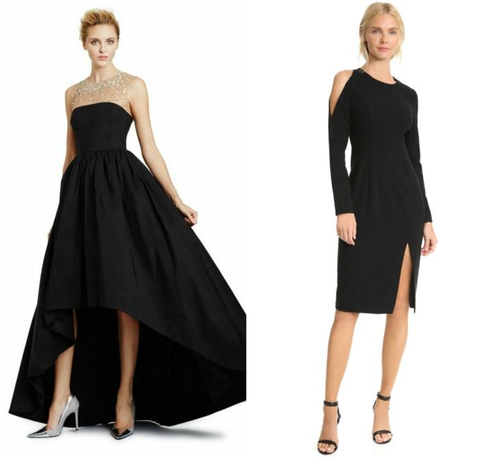 vestidos largos de fiesta, propuestas en negro, ideas extravagantes para vestidos de boda, zapatos plateados cerrados y sandalias elegantes en negro