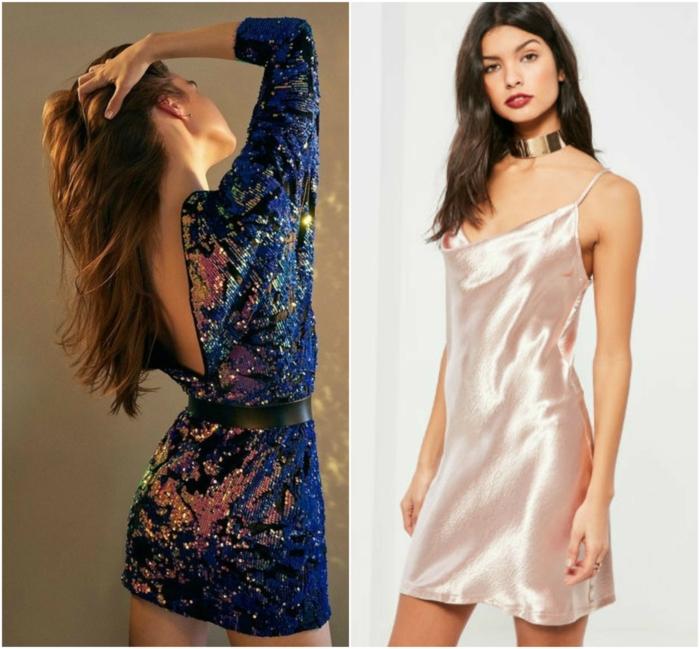vestidos fiesta cortos, propuestas fascinantes con lentejuelas en azul y dorado, vestidos cortos con espalda descubierta y escote atrevido