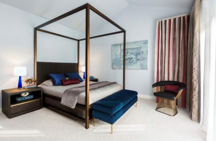 habitaciones modernas, ideas para decorar un dormitorio en estilo moderno, tendencias en las camas, pie de cama tapizado en terciopelo en azul saturado