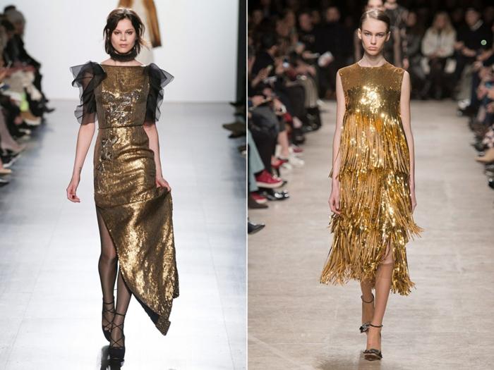 vestidos de coctel. propuestas con mucho brillo, vestidos en dorado con lentejuelas y purpurina, propuestas originales para Nochevieja