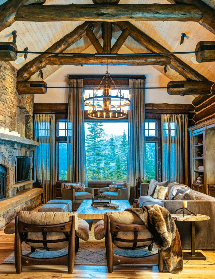 cabañas de madera, precioso salon con vista, candelabro vintage, muebles y decoración en estilo rústico, interior con encanto