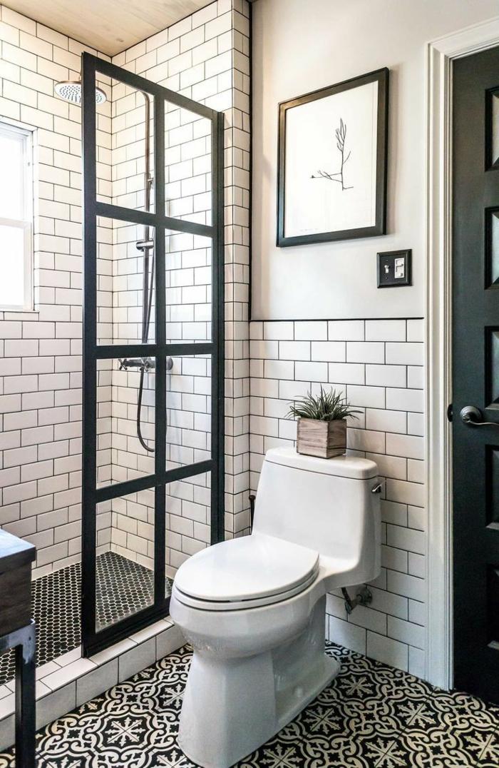 cuadros baratos, baño moderno en blanco y negro, ladrillo visto blanco esmaltado, ducha de obra, cuadro con arbol marco negro