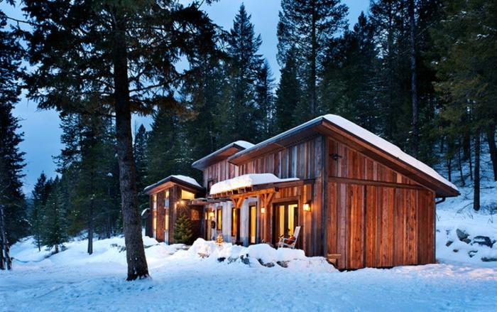 cabañas de madera, preciosa cabaña hecha de madera con mucha iluminación, ideas de cabañas rurales colocadas en el bosque