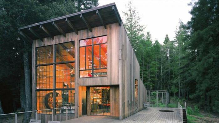 cabañas rurales, propuesta de diseño contemporáneo de una cabaña de madera en estilo moderno minimalista