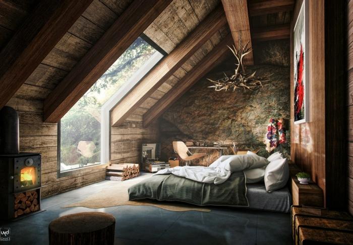 casa de madera, precioso interior con aire hogareño, decoración en estilo rústico, paredes con vigas de madera