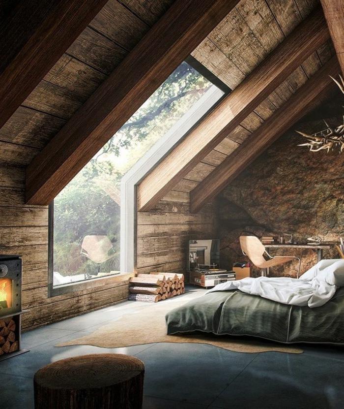 cabañas rurales, dormitorio espacioso con techo inclinado, paredes de piedra y madera, dormitorio en la buhardilla