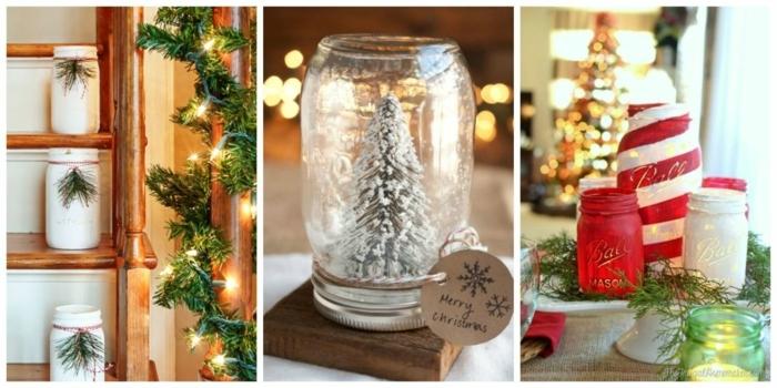 centro de mesa, tres propuestas para decorar la mesa de navidad con frascos de cristal adornados, ideas DIY