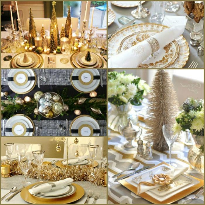 decoracion mesa navidad, propuestas para centros de mesa en dorado, detalles en color oro, servilletas elegantes