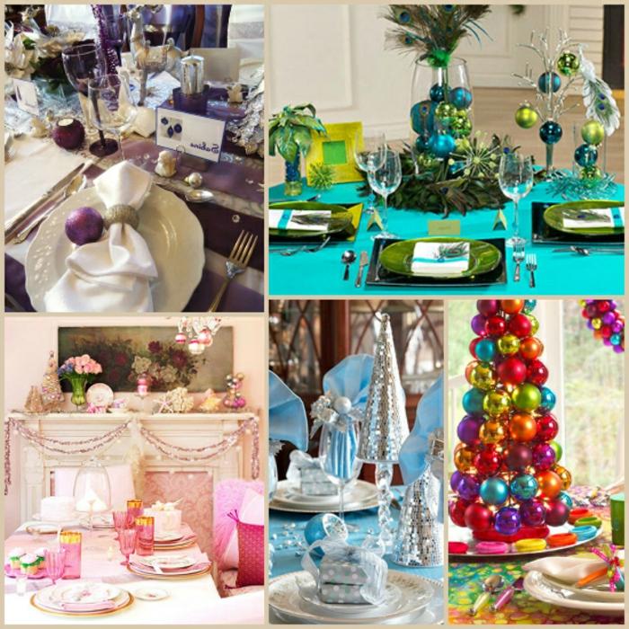 mesa de navidad, propuestas de decoración en colores chillones, centros de navidad coloridos