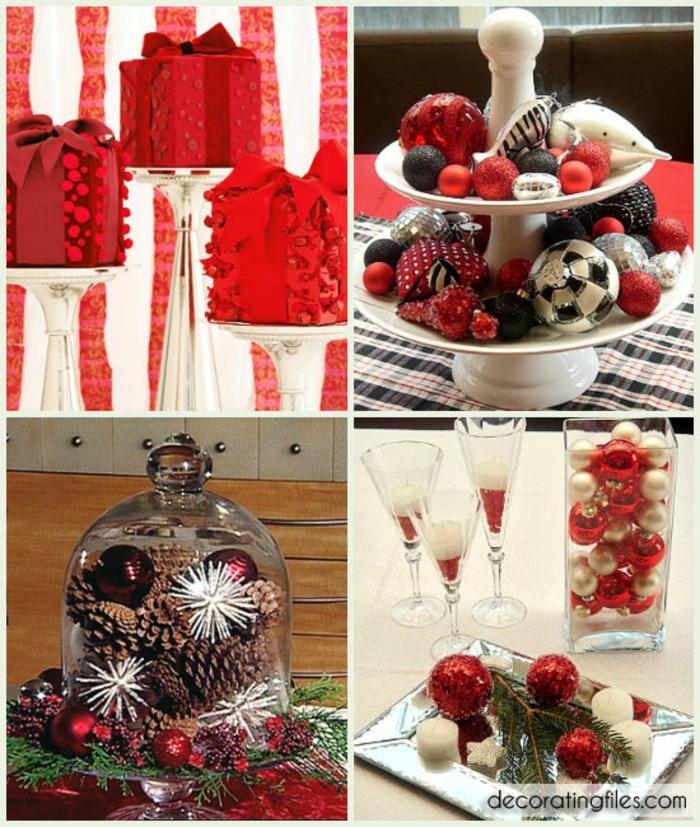 centro de mesa navideño, decoracion en rojo en diferentes variantes, centros de mesa con detalles brillantes