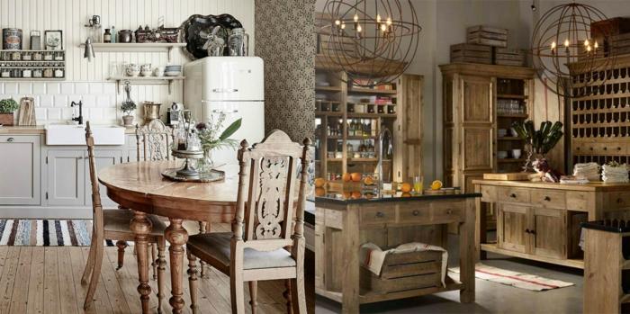 cocinas vintage, dos propuestas de cocinas de madera, sillas con respaldo de ornamentos, suelo de parquet y azulejos