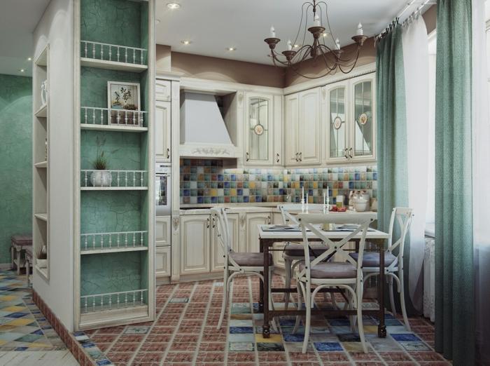 cocinas vintage, pequeña cocina en colores pastel, armario y cortinas en color menta, azulejos en el suelo, armarios blancos