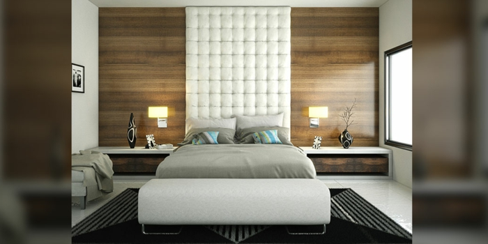 habitaciones de matrimonio, idea interesante de dormitorio moderno con cama con cabecero en capitoné que llega hasta el techo