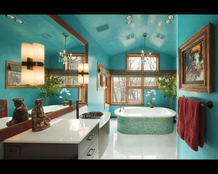 decoracion baños, baño espacioso en color aguamarina, bañera moderna, decoración de diferentes estilos