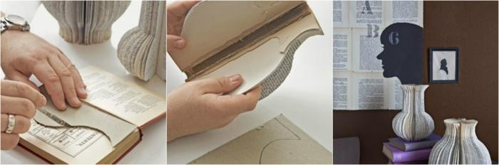 manualidades con papel, decoración original con libro viejo reciclado, tutorial paso a paso