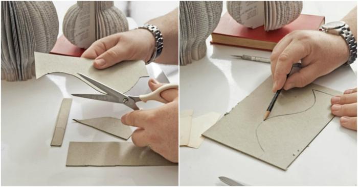 manualidades con papel, como hacer una plantilla de cartón para un jarrón de libro viejo, tutorial paso a paso