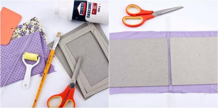 manualidades con papel, materiales necesarios para hacer un albúnm de fotos hecho a mano con cartón y tela de colores