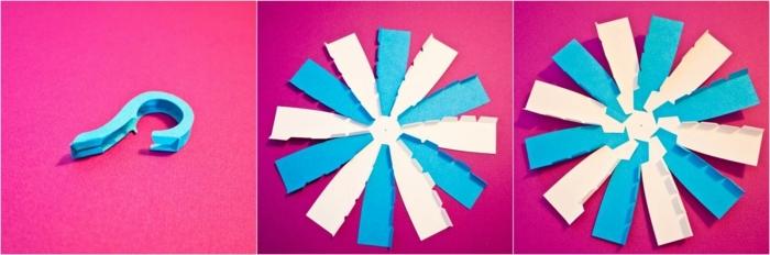 manualidades con papel, taza de té con asa de cartulina en azul y blanco, tutorial paso a paso para hacerla