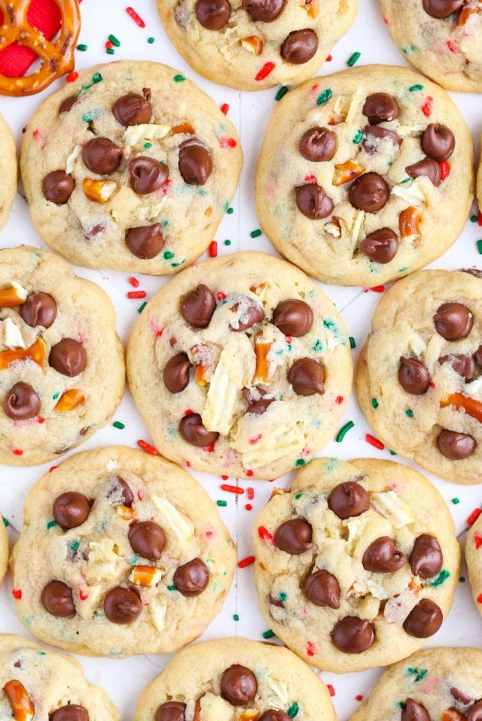 receta galletas mantequilla, cookies de navidad con chispas de chocolate, recetas fáciles navideñas