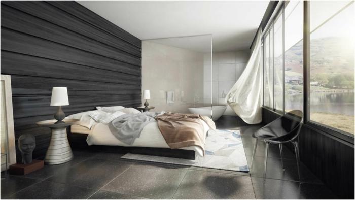 habitaciones de matrimonio, grande dormitorio en estilo moderno, pared con vigas de madera en negro, grandes ventanales con vista