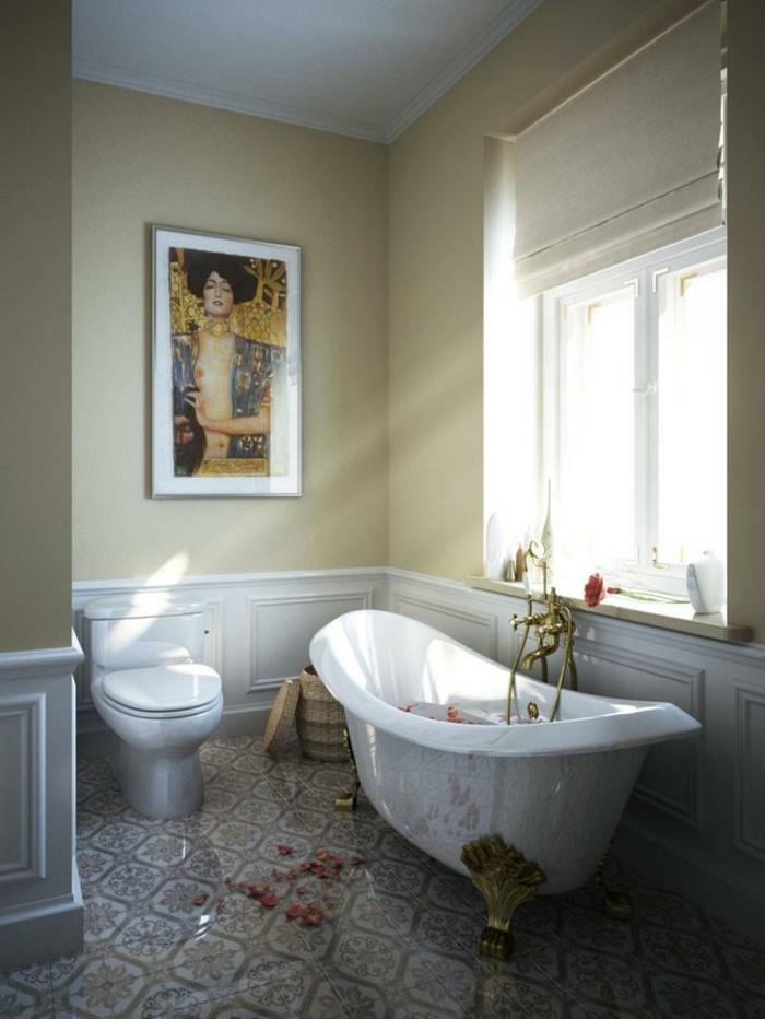 laminas vintage, baño lujoso, ventana grande, rayos de sol, pétalos de rosa, bañera con patas doradas, reproduccion de cuadro de Gustav Klimt