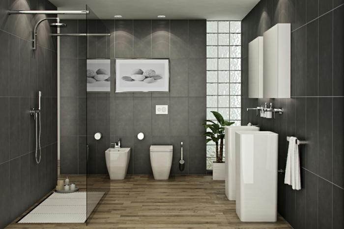 baño decorativos, baño grande moderno en gris, ducha de obra, decoración con planta verde y foto de piedras enmarcada
