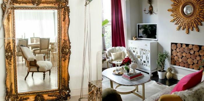 decoracion vintage, espejos vintage en color oro con ornamentos, interiores con paredes en blanco