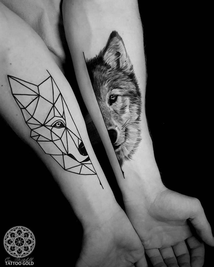 dibujos de lobos, idea de dos tatuajes, mitad y mitad de cabeza de lobo en estilos diferentes, tatuaje geométrico, tatuaje realista