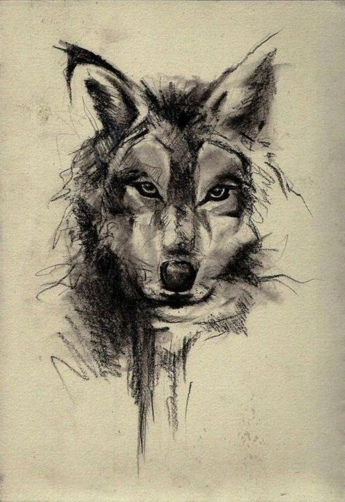 dibujos de lobo, boceto de cabeza de lobo en papel, blanco y negro, diseño de tatuaje estilo realista