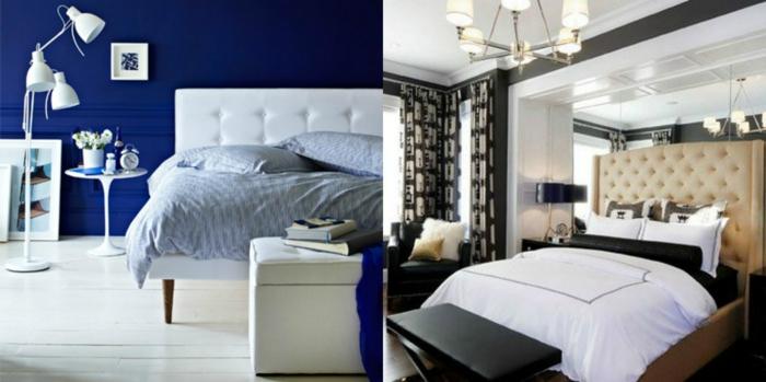 habitaciones de matrimonio, dos propuestas de estilo de dormitorios modernos con camas de cabeceros tapizados en capitoné