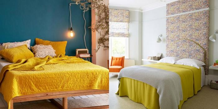 dormitorios modernos, ideas de dormitorios decorados con color moztaza, suelos de madera, cama de madera con cabecero atractivo