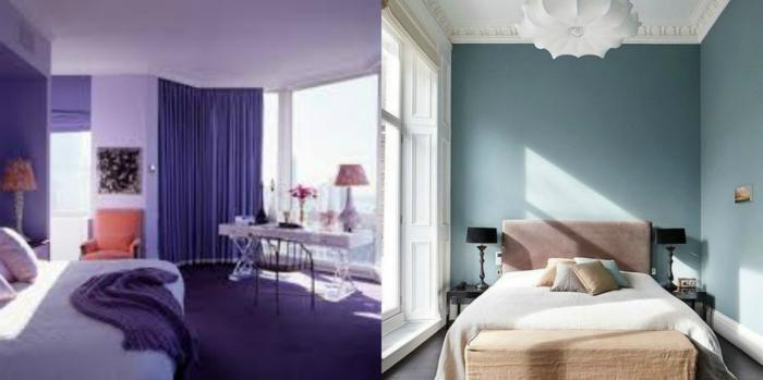 ideas para decorar una habitacion, dos ejemplos de dormitorios en colores fríos, dormitorio en lila saturado y otro en azul con cama en color rosa