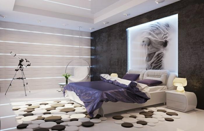 como pintar una habitacion, dormitorio moderno con alfombra original hecha de esferas en blanco y marrón, cama doble con sábanas de saten en lila