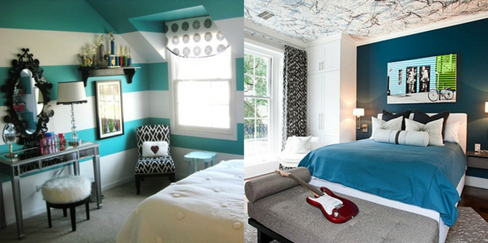 como pintar una habitacion, dos ideas de dormitorios modernos decorados en colores fríos, decotacion en las paredes