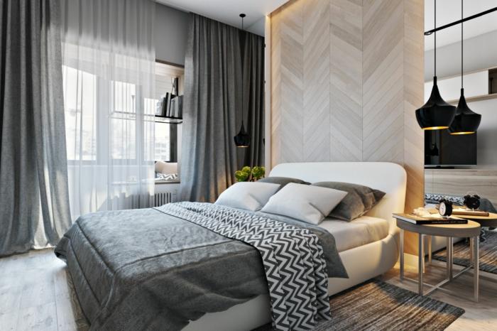 como pintar una habitacion, habitación con cabecero original hecho de madera que llega hasta el techo, detalles en gris y beige