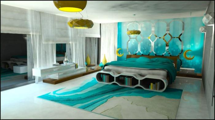 colores para habitaciones, propuesta fresca de dormitorio moderno decorado en color aguamarina y detalles en mostaza