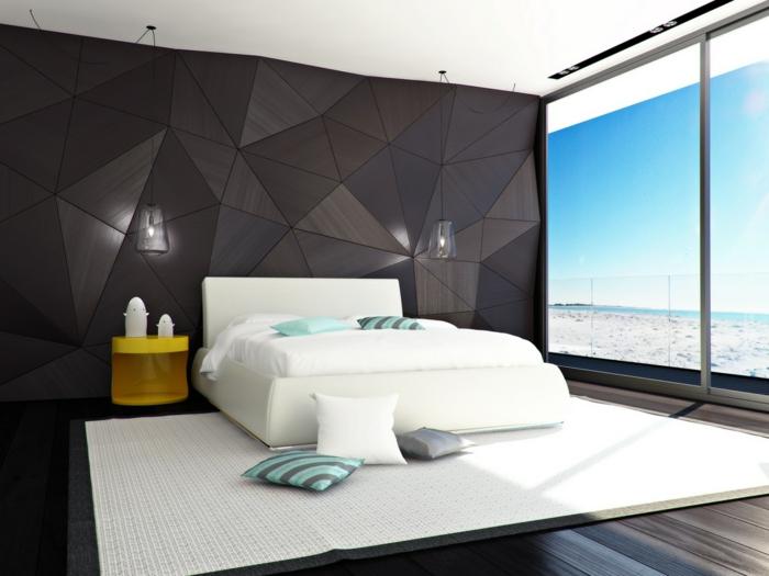 colores para habitaciones, grande dormitorio con paredes en marrón, cama moderna en blanco tapizada de piel, ventanales con vista