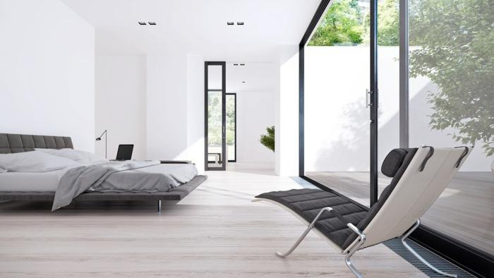 colores para habitaciones, idea moderna de dormitorio espacioso en estilo minimalista, cama grande en capitoné, grandes ventanales