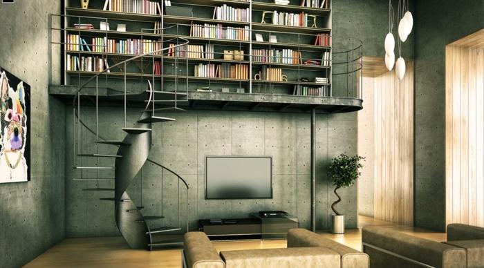escalera metalica, salon moderno con paredes en gris, balcon interior, escalera de caracol metalica, libreria grande