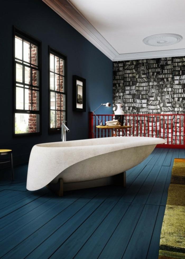 decoración vintage, ideas para un baño moderno en espacio abierto, vinillo de pared con libros, interior en azul saturado