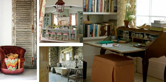 decoración vintage, propuestas vintage para decorar la casa, muebles con efecto envejecido, sillas vintage