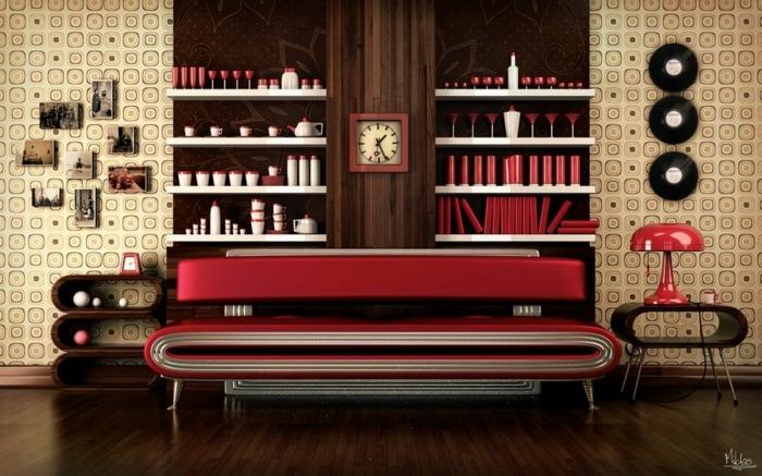 decoración vintage, salón en estilo vintage con sofá de metal moderna en rojo, reloj viejo, paredes en cuadrados